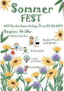Sommerfest KGV Bockenheim Anlage 5 am 03.08.2019 Begin: 18 Uhr